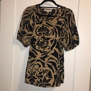 NWOT LOFT Black and Tan Damask Blouse - Size S